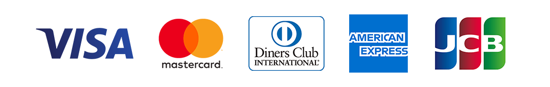 VISA・MasterCard・Diners Club・AMERICAM EXPRESS・JCB